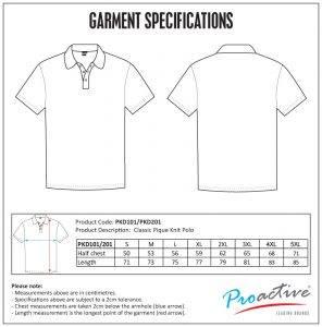 Project18 Shirt Size Chart